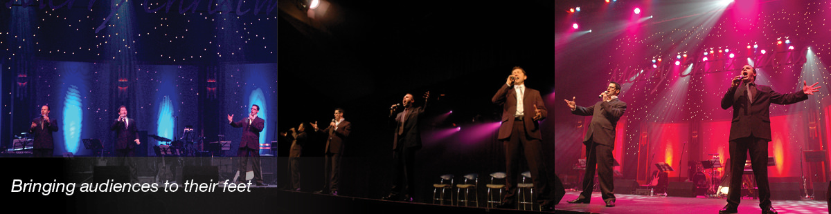 Three images with Figaro performers singing.
