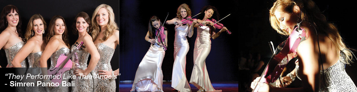Three images of the string angels. Five women smiling, three women playing the violin and one woman playing solo
